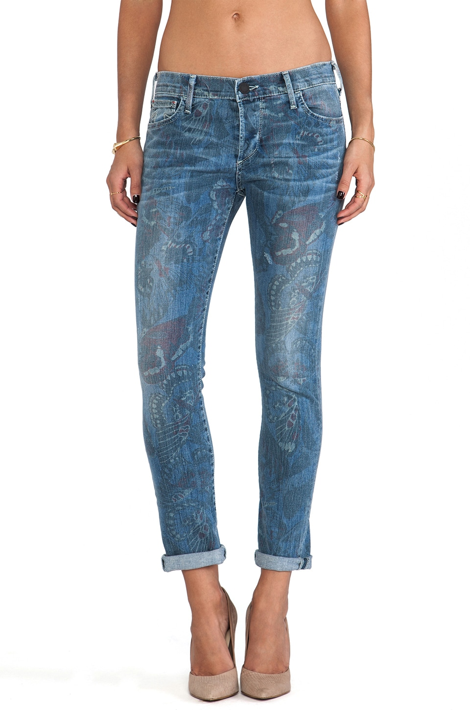 True Religion Leona Mid Rise Rolled Capri in Butterfly Print