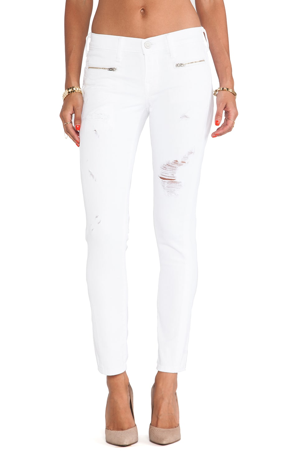 True Religion Victoria Moto Skinny in Optic White