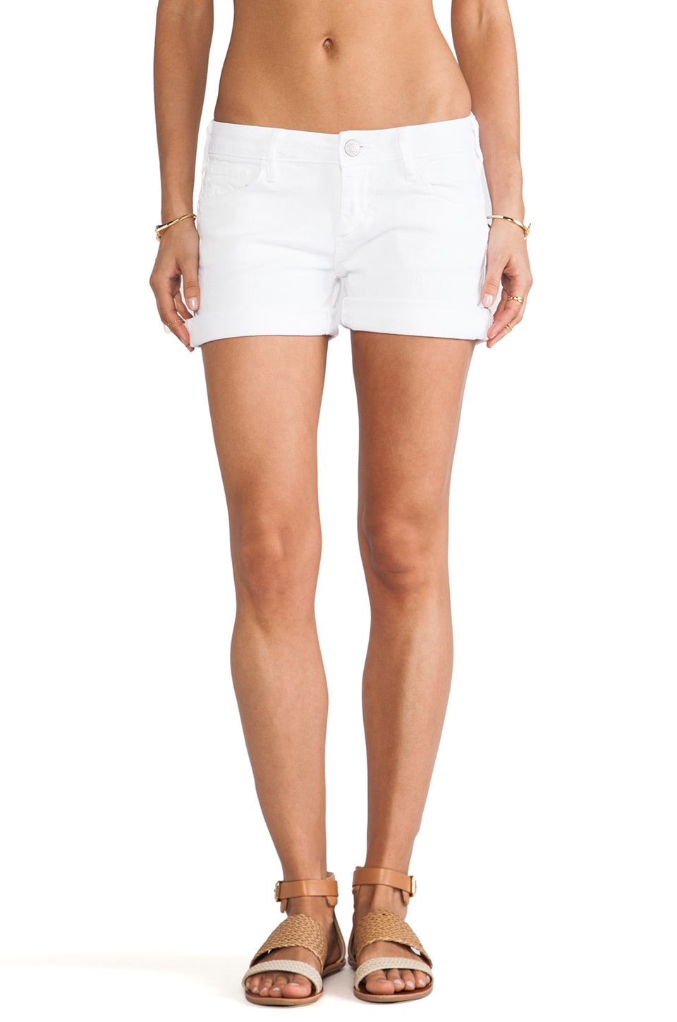 True Religion Cassie Rolled Short in Optic White