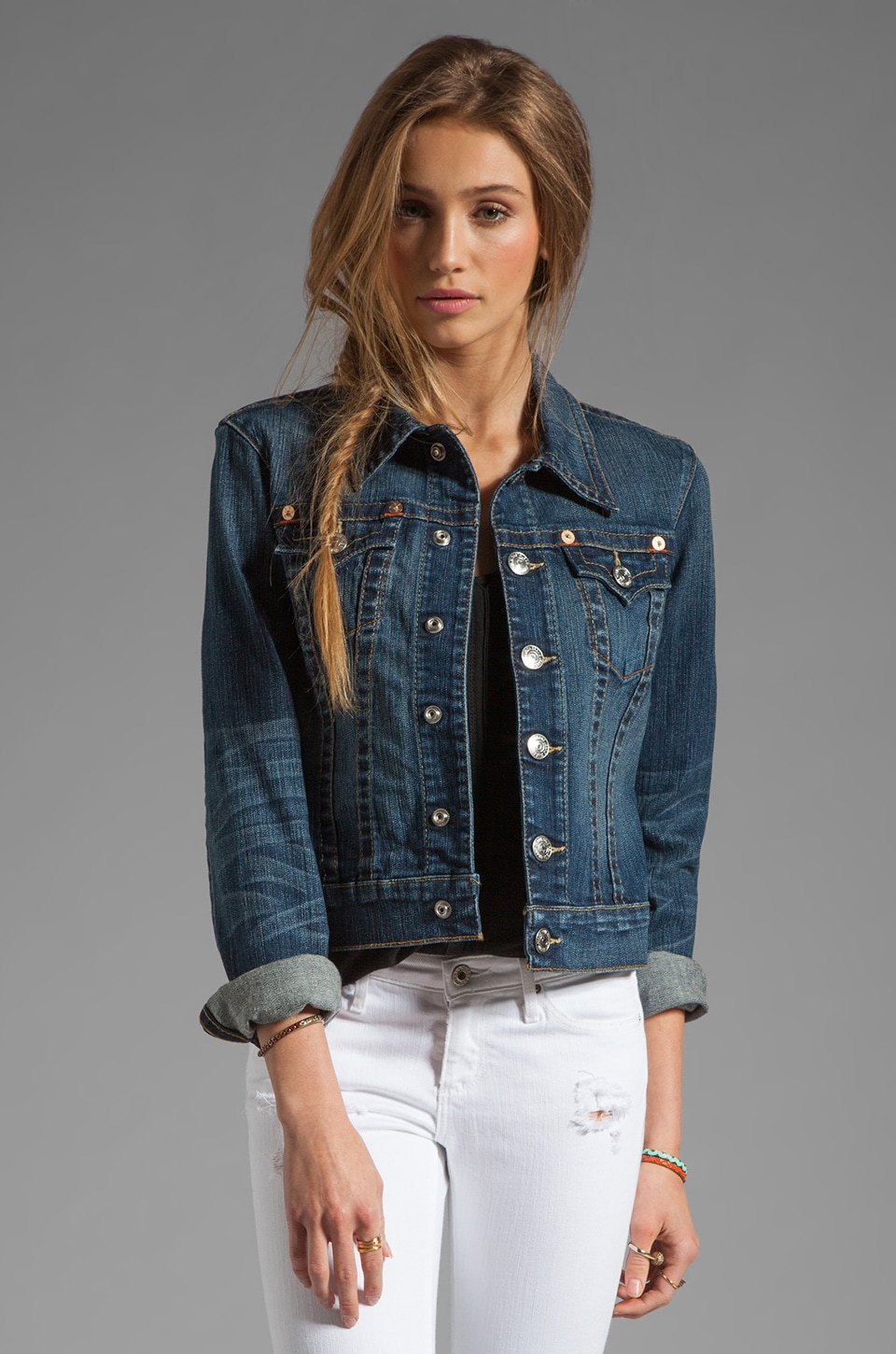 True Religion Emily Western Jacket in Dusty Skies