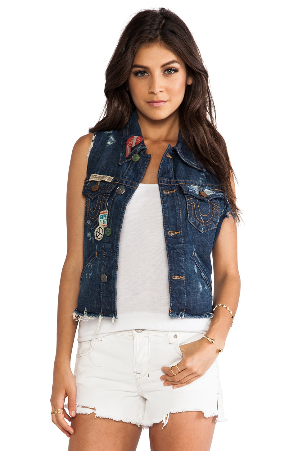 True Religion Jada Cut Off On the Road Vest in Old