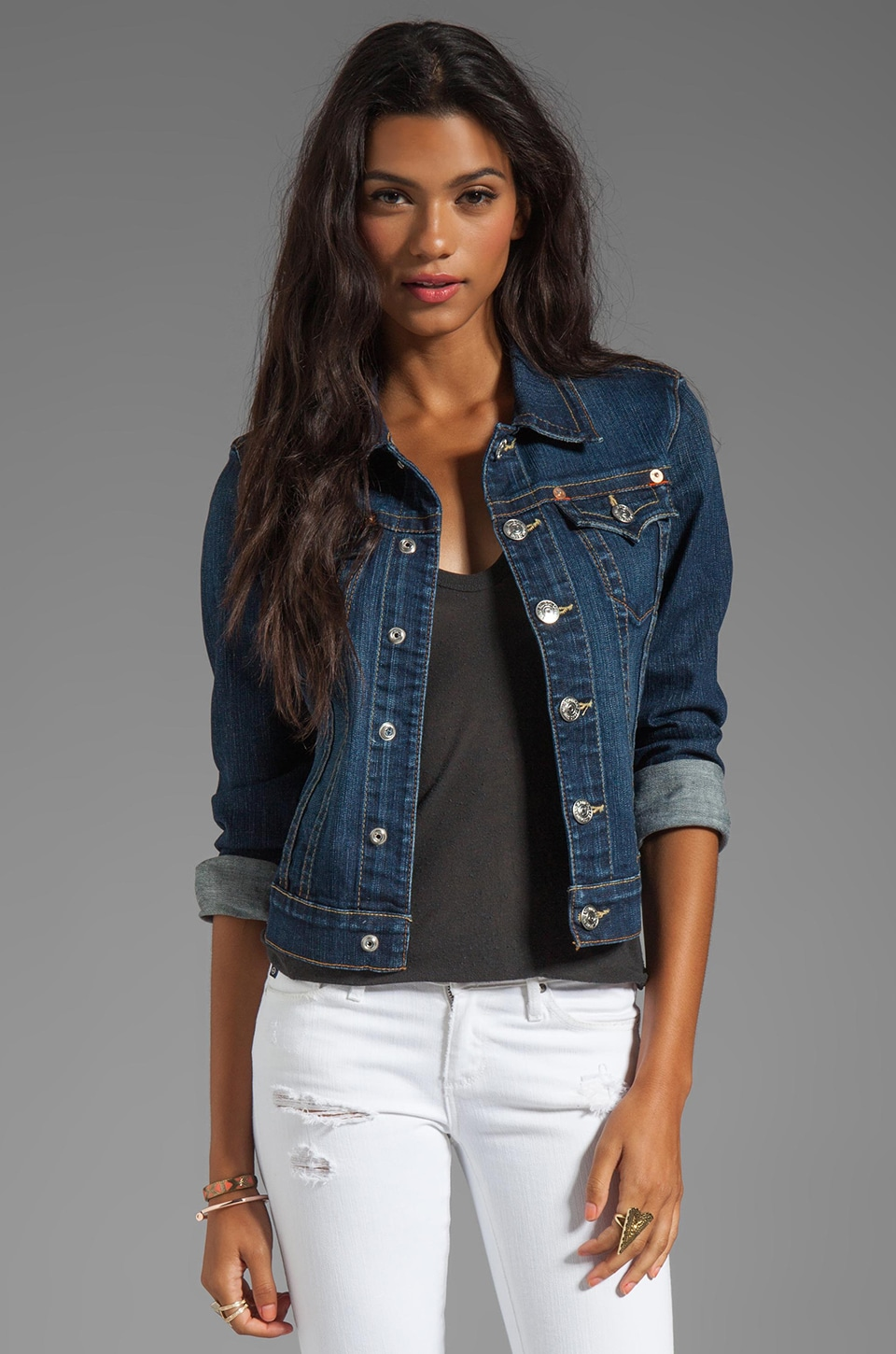 True Religion Emily Western Jacket in Sapphire Blue