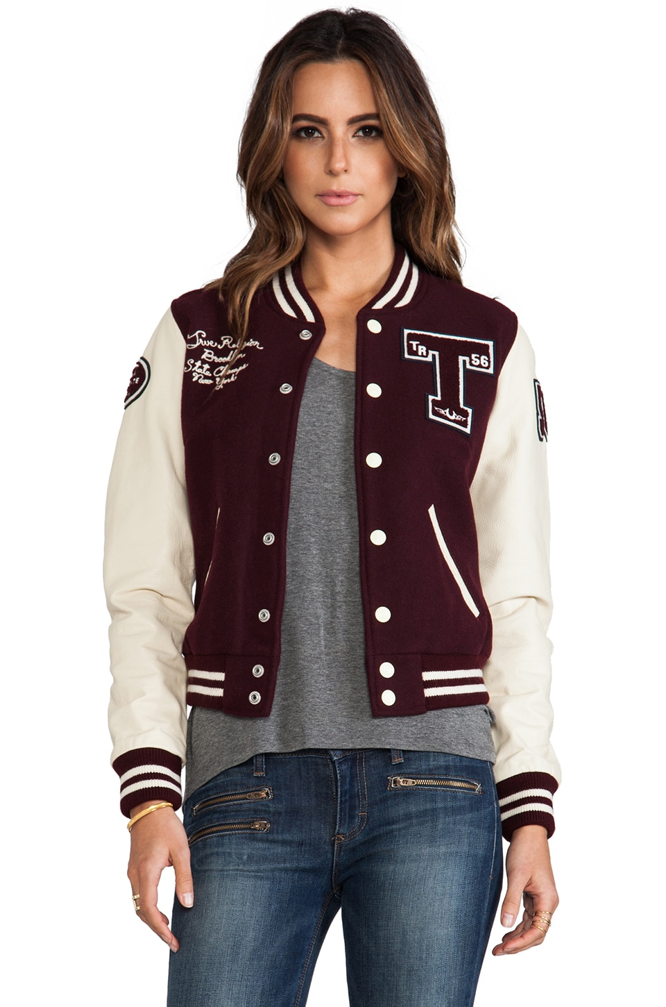 True Religion Richie Varsity Jacket in Plum