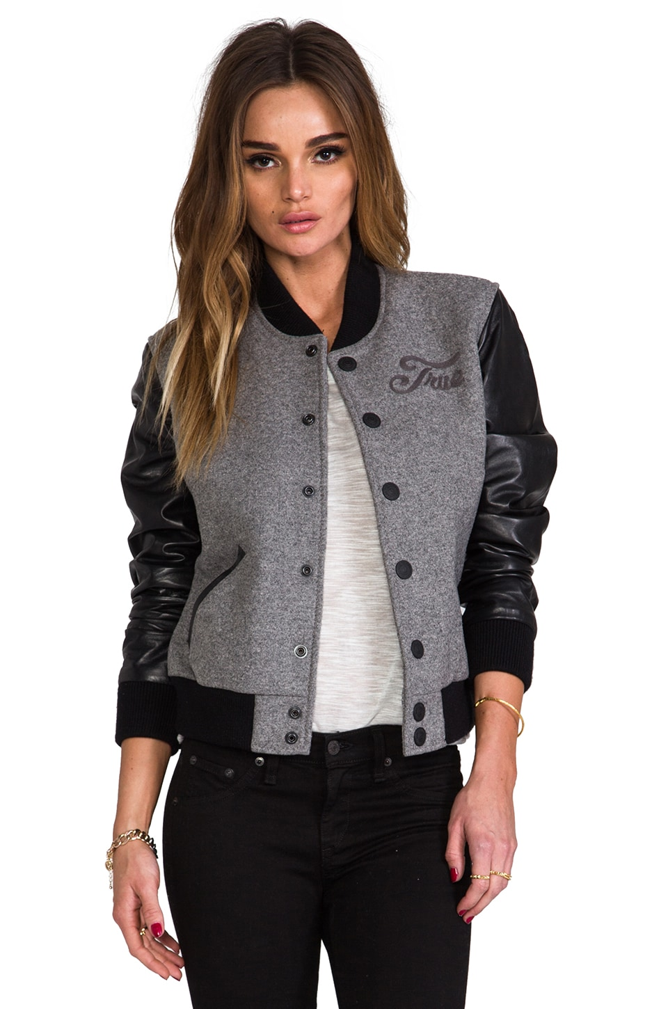 True Religion Richie Varsity Jacket in Heather Grey