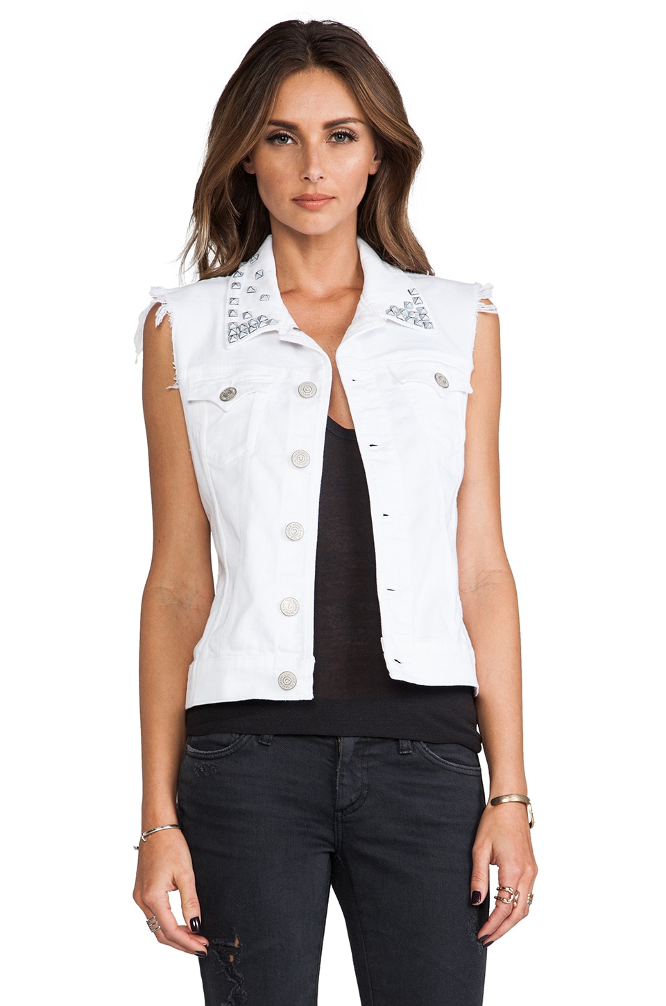 True Religion Shelby Studded Vest in Optic White