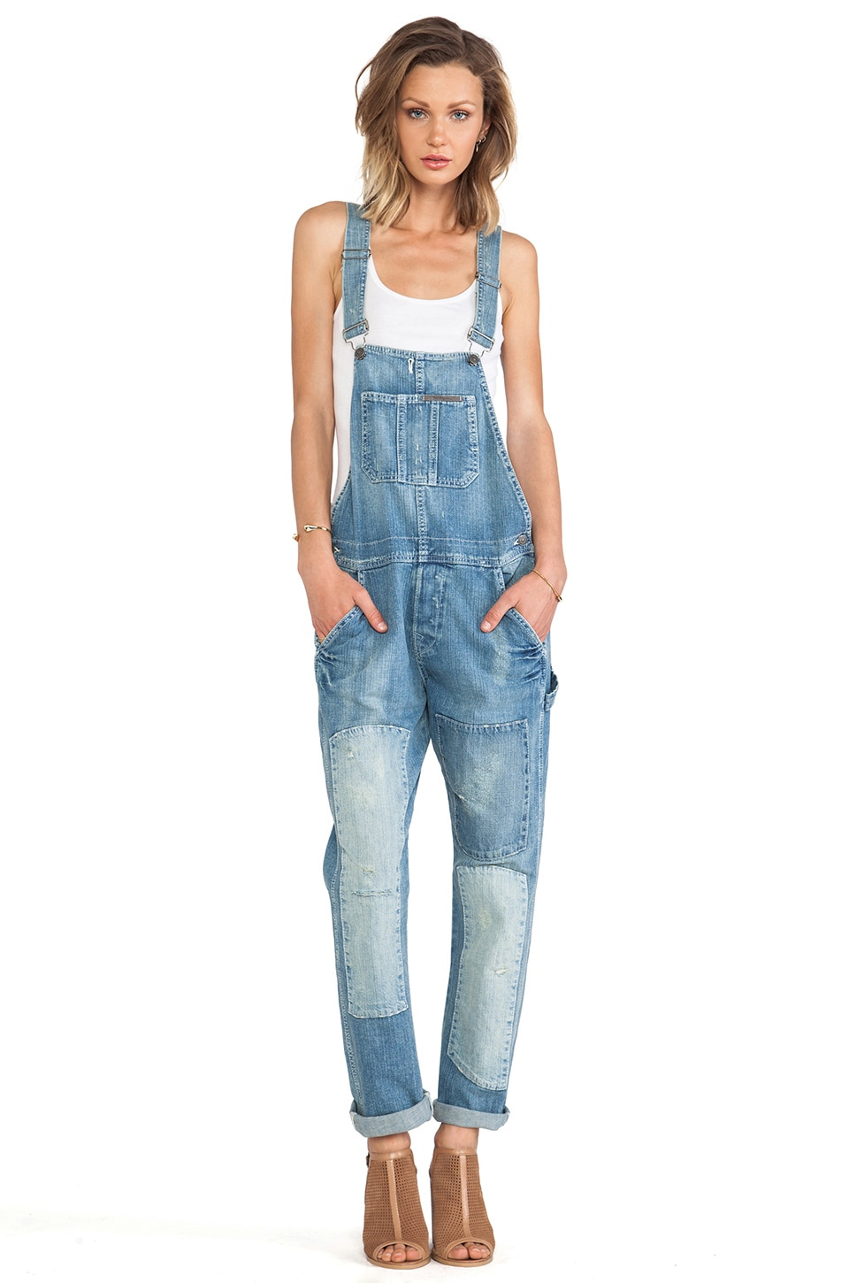 True Religion Erin Crop Relaxed Overall in Lost Paradise