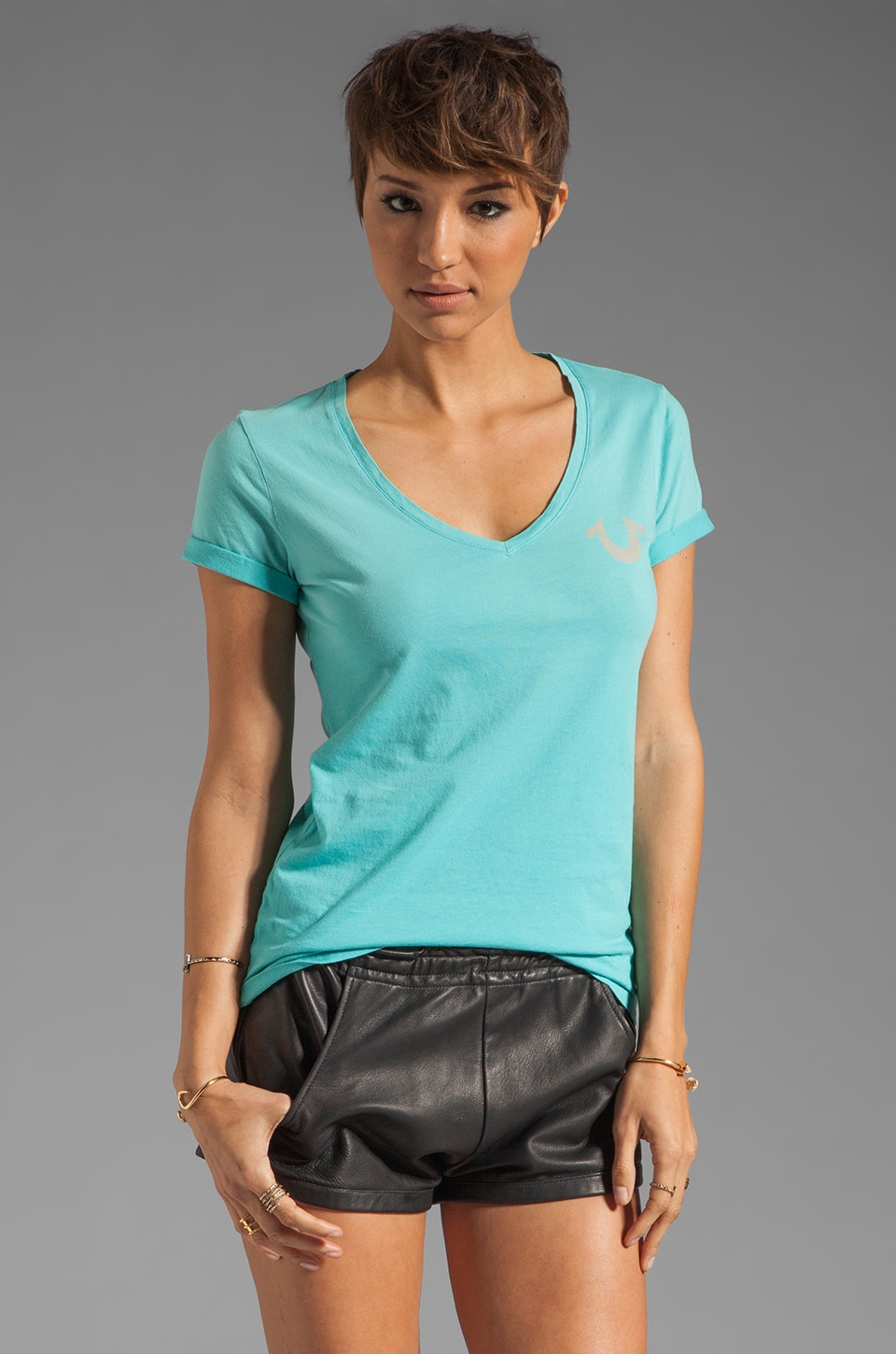 True Religion Jane V Neck Tee in Sea Blue