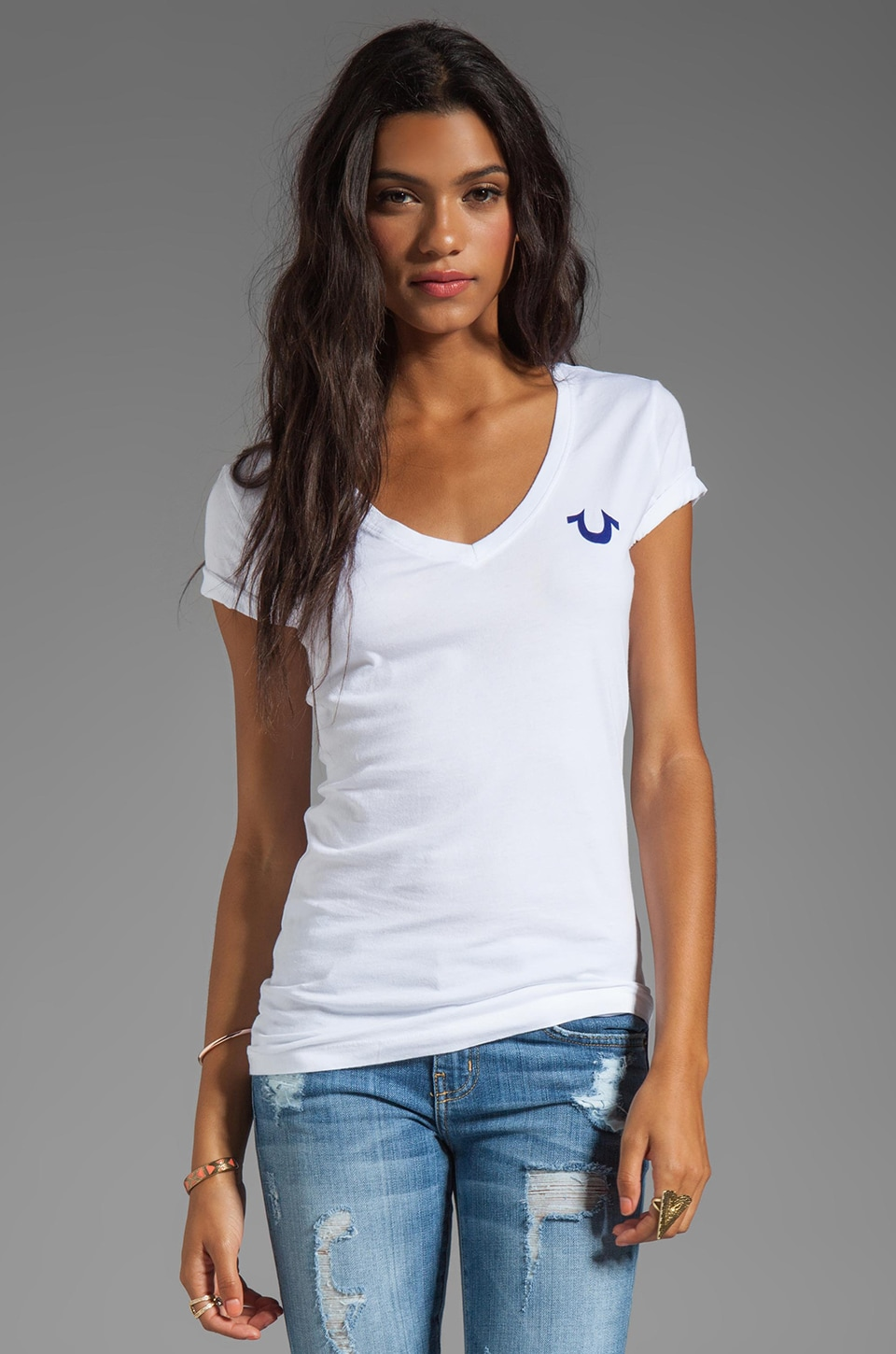 True Religion Basic Logo V-Neck Tee in White