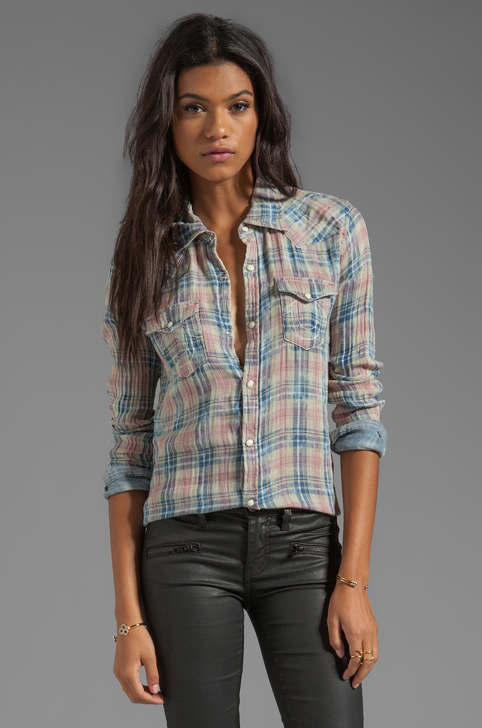 True Religion Georgia Shirt in Thistle
