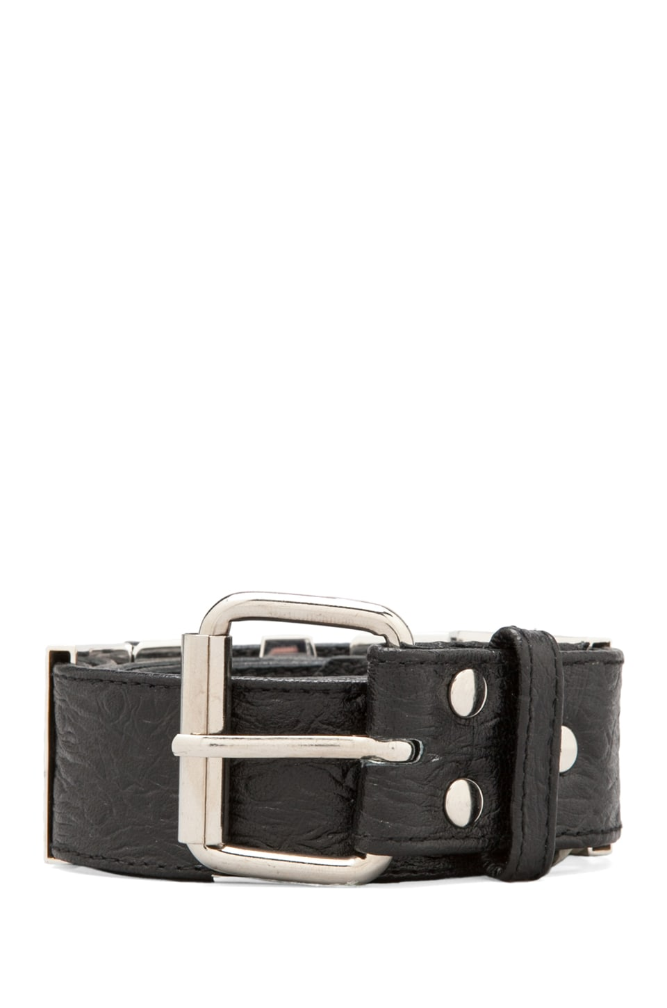 This is a Love Song Ostrich Leather Rad Letter Belt in Black/Silver