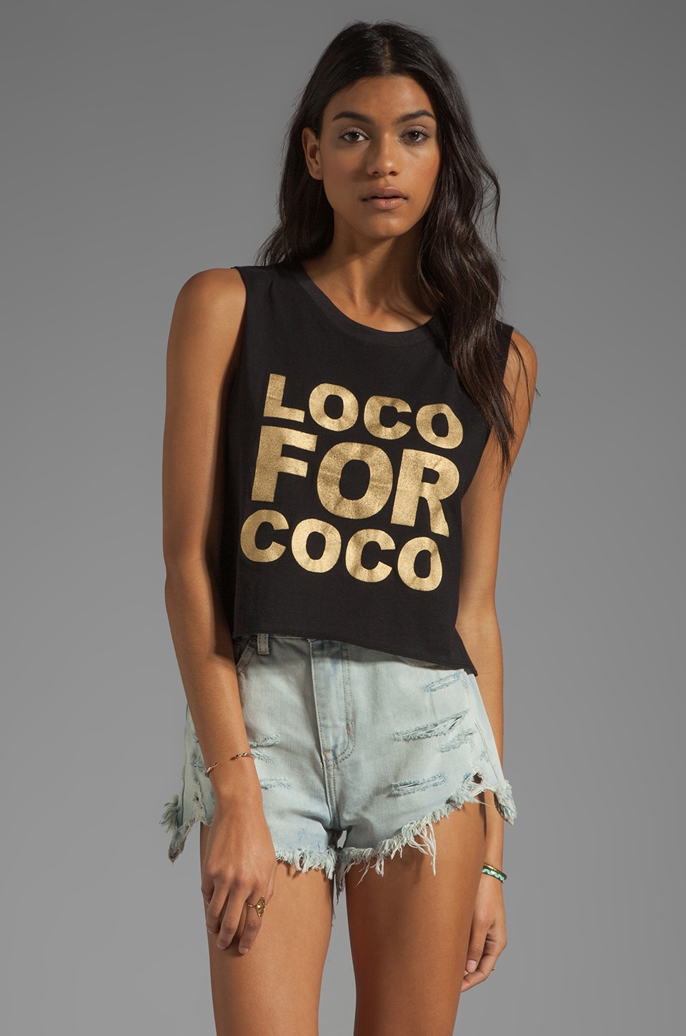 This is a Love Song Loco For Coco Tee in Black