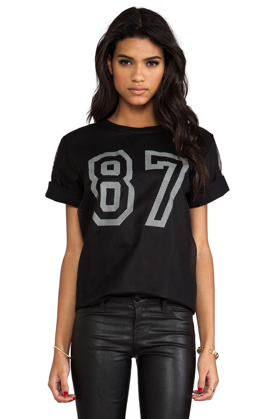 This is a Love Song Bad Football Jersey Tee in Black/White
