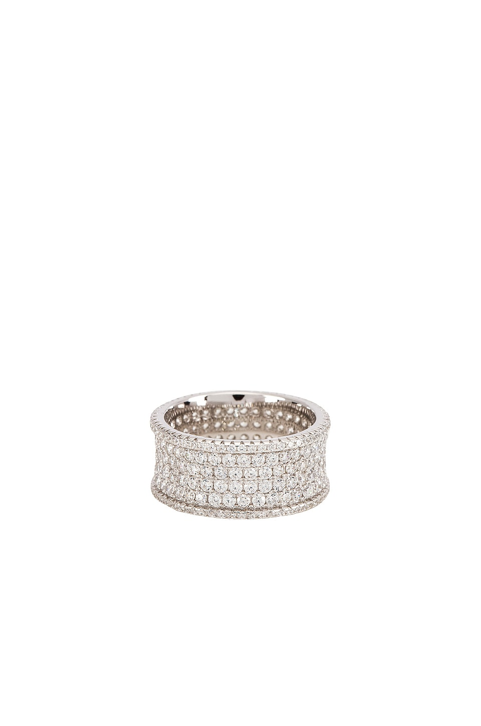 The M Jewelers NY Iced Out Four Row Ring in Sterling Silver