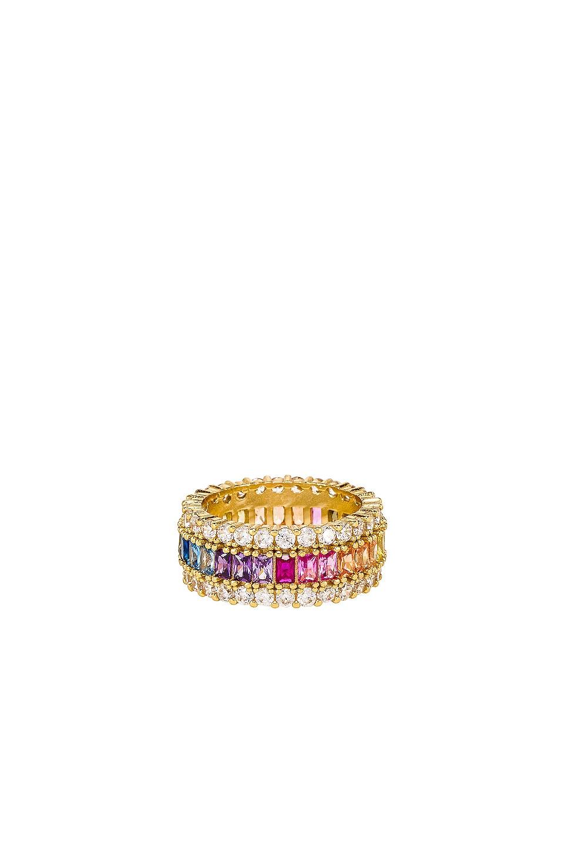 The M Jewelers NY ANILLO THREE ROW RAINBOW