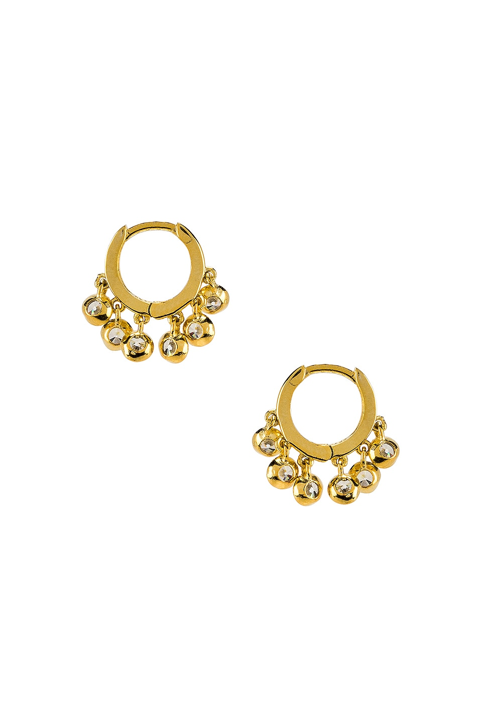 The M Jewelers NY Tiny Pave Huggie Earrings in Gold