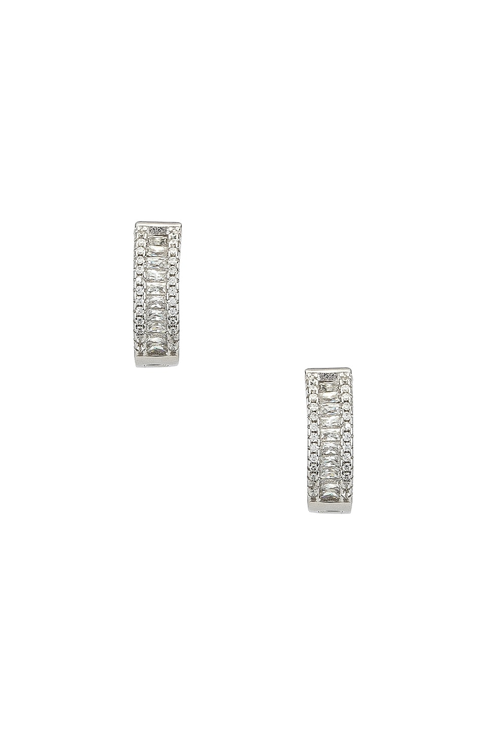 The M Jewelers NY The Baguette Channel Set Huggie Earrings in Silver