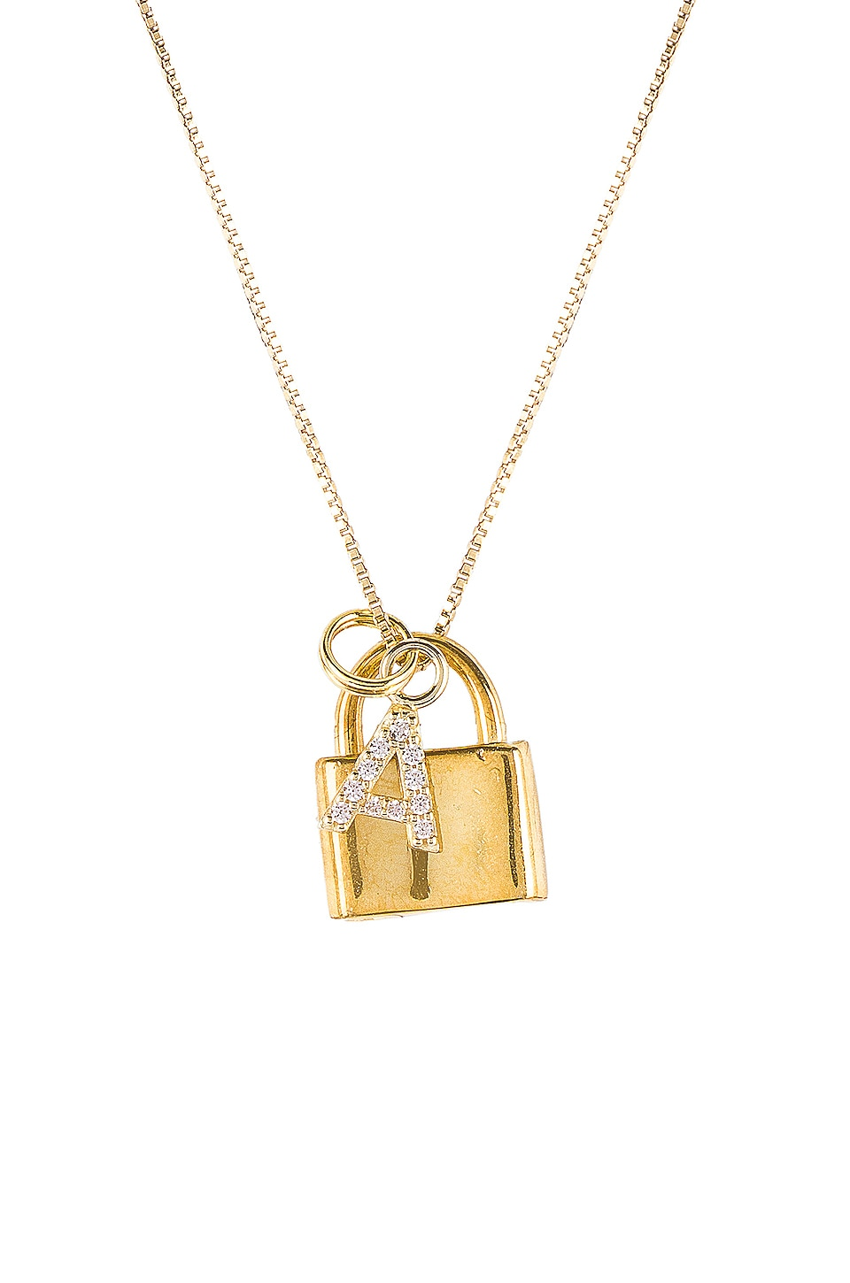The M Jewelers NY The Lock A Initial Necklace in Gold