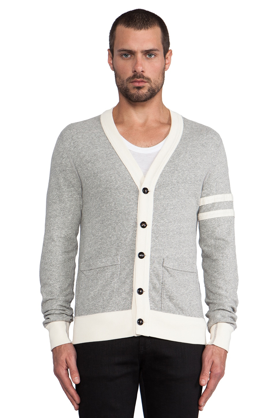 TODD SNYDER + Champion Jersey Cardigan in Grey Heather