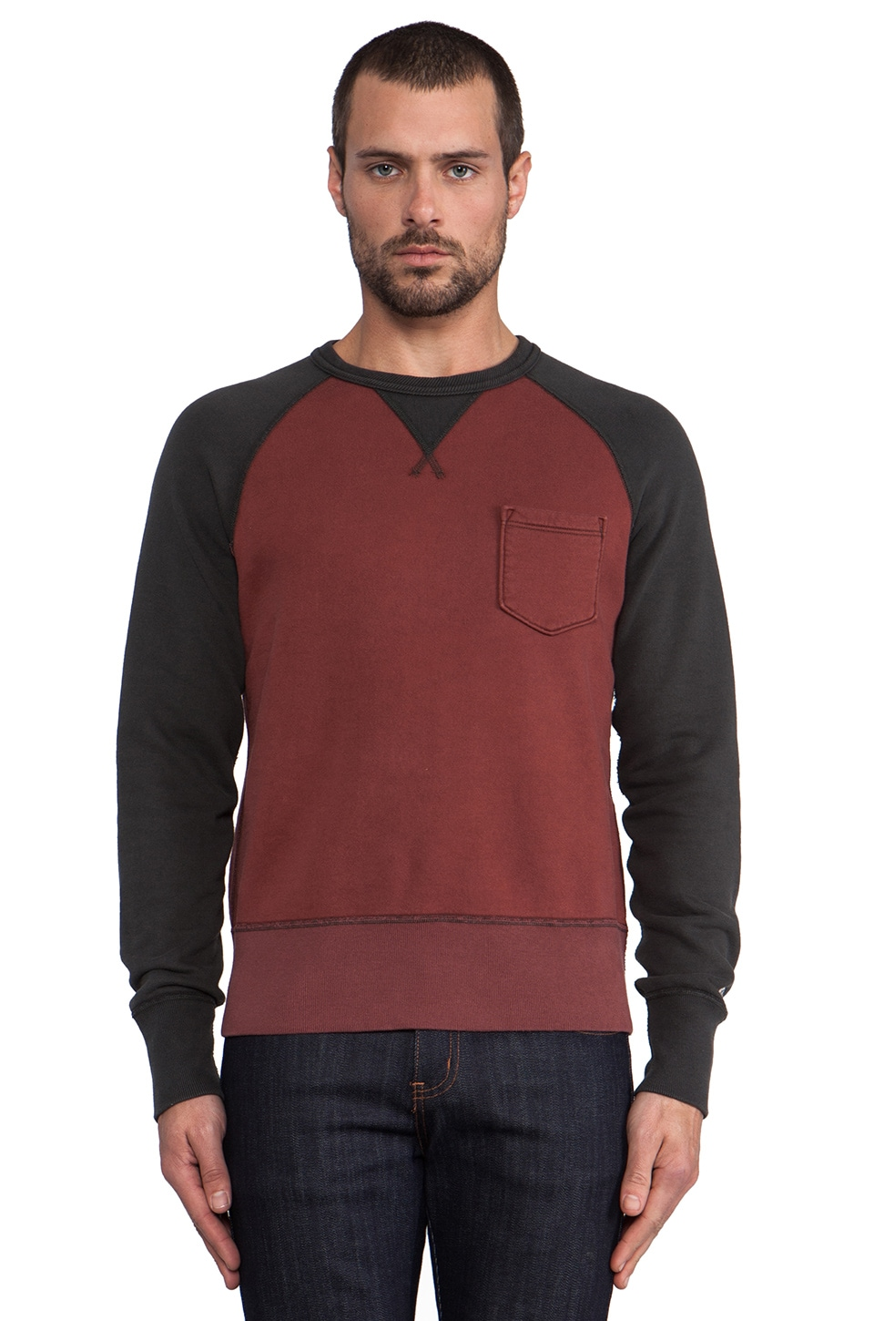 TODD SNYDER + Champion Contrast Sleeve Pocket Sweatshirt in Crimson/ Dark Storm
