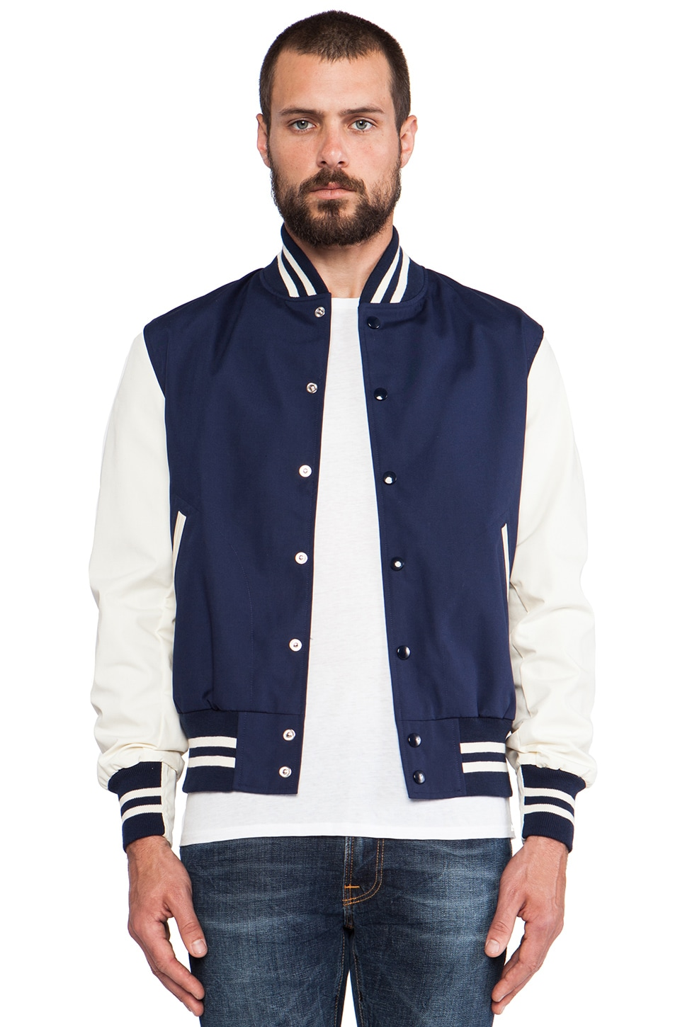 TODD SNYDER + Champion Spring Varsity Jacket in Navy