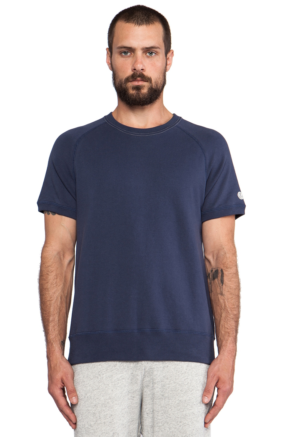 TODD SNYDER + Champion Short Sleeve Sweatshirt in Pale Surf
