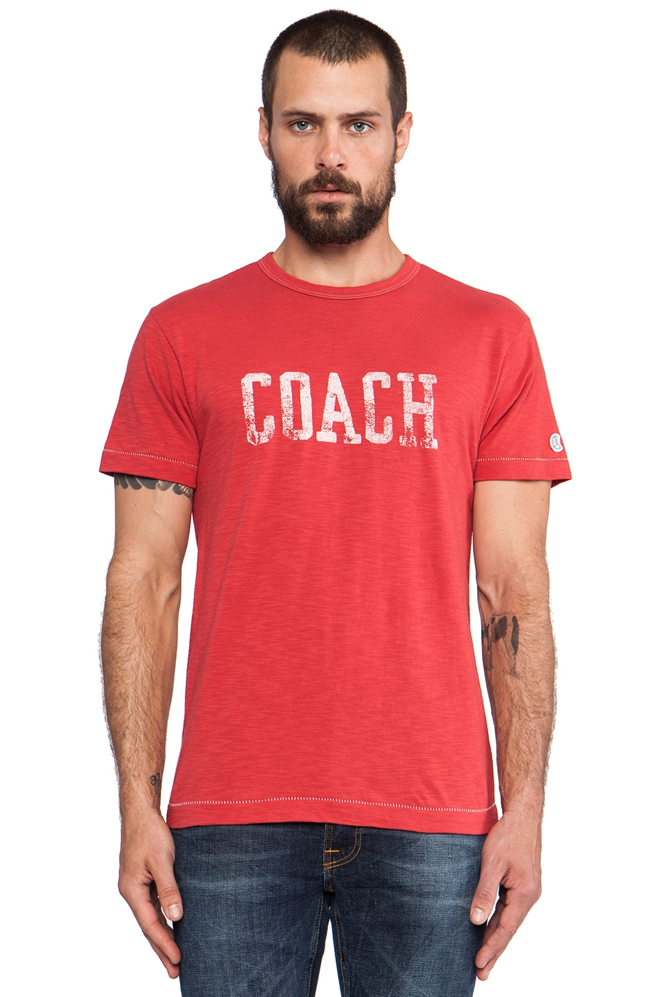 TODD SNYDER + Champion Coach Graphic Tee in Faded Red