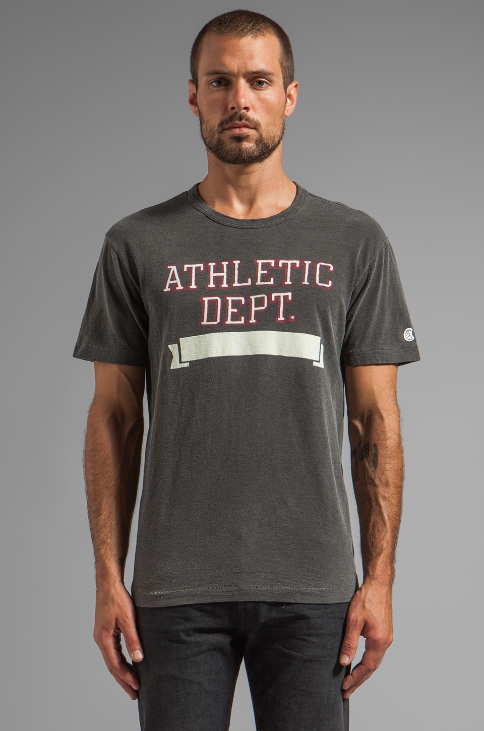 TODD SNYDER + Champion Athletic Dept Tee in Faded Black