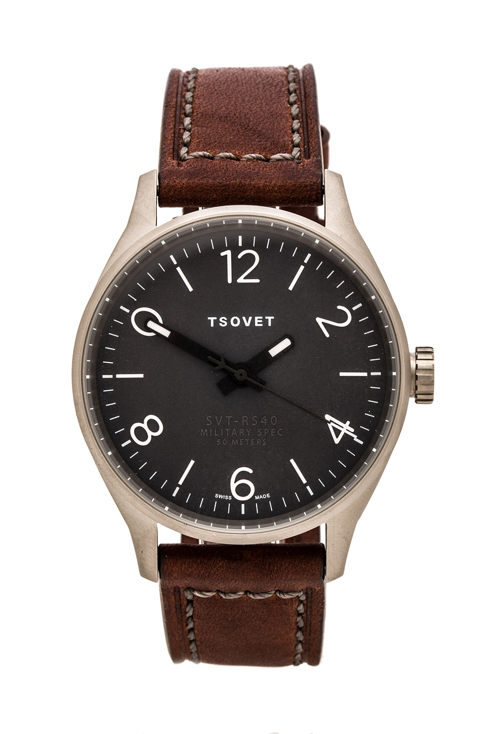 Tsovet SVT-RS40 in Grey w/Dark Brown Leather Straps