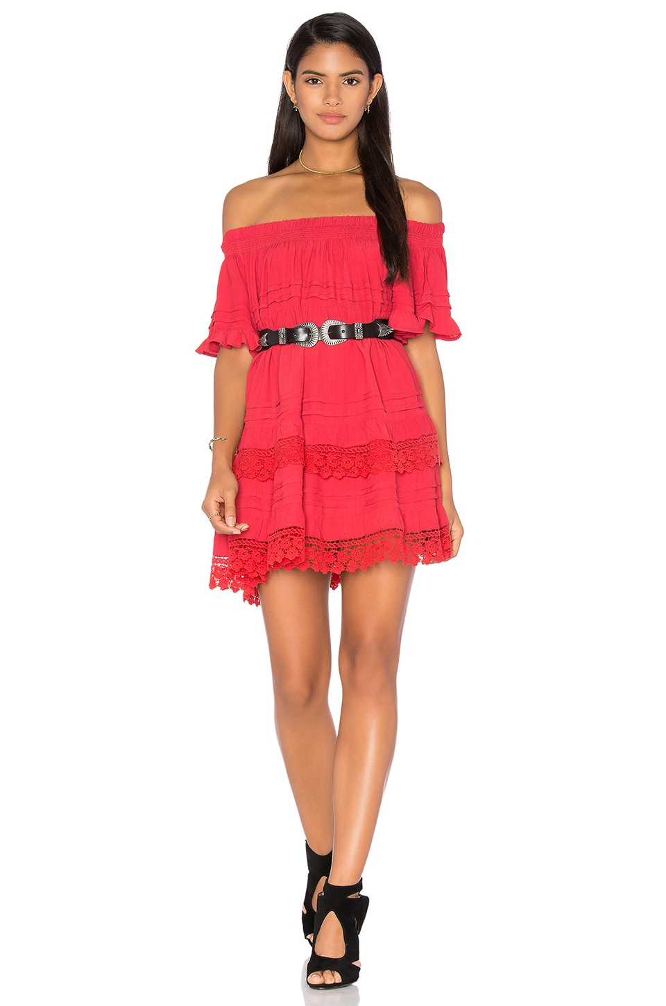 Tessora Ruffle Off the Shoulder Dress in Red