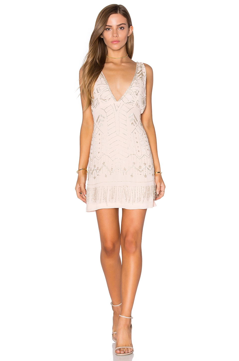 Tessora Embellished Cocktail Dress in Pale Pink