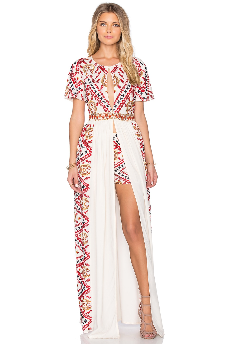 Tessora Long Maxi Dress in Off White