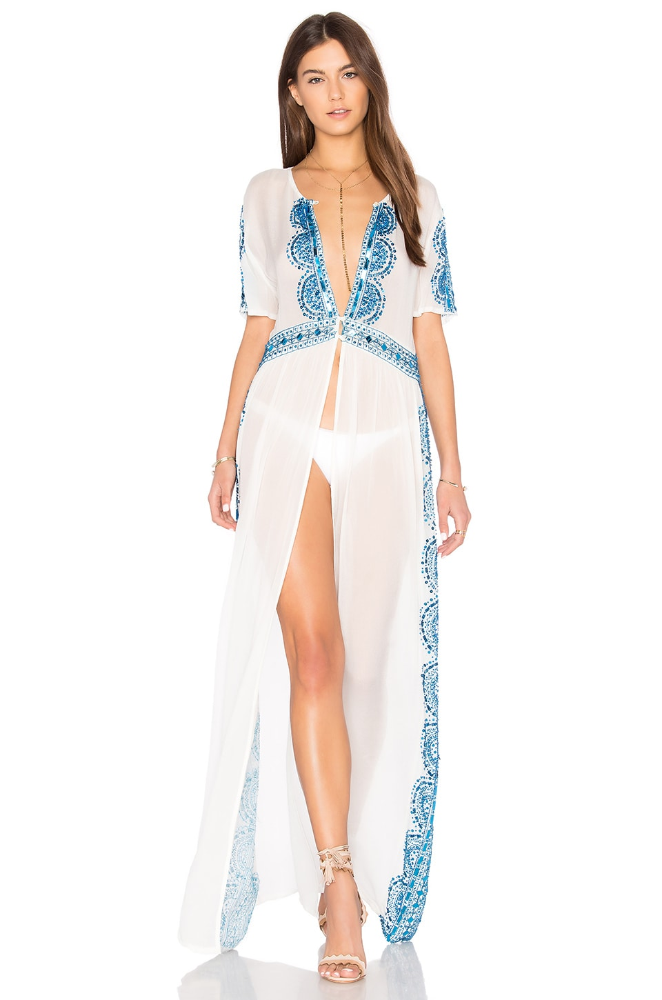 Tessora Embroidered Maxi Dress in Blue