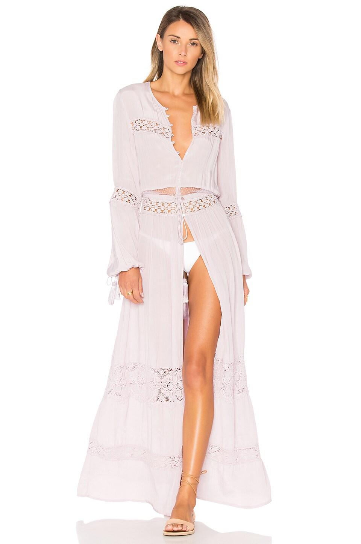 Tessora Crochet Panel Maxi Dress in Pale Lavender