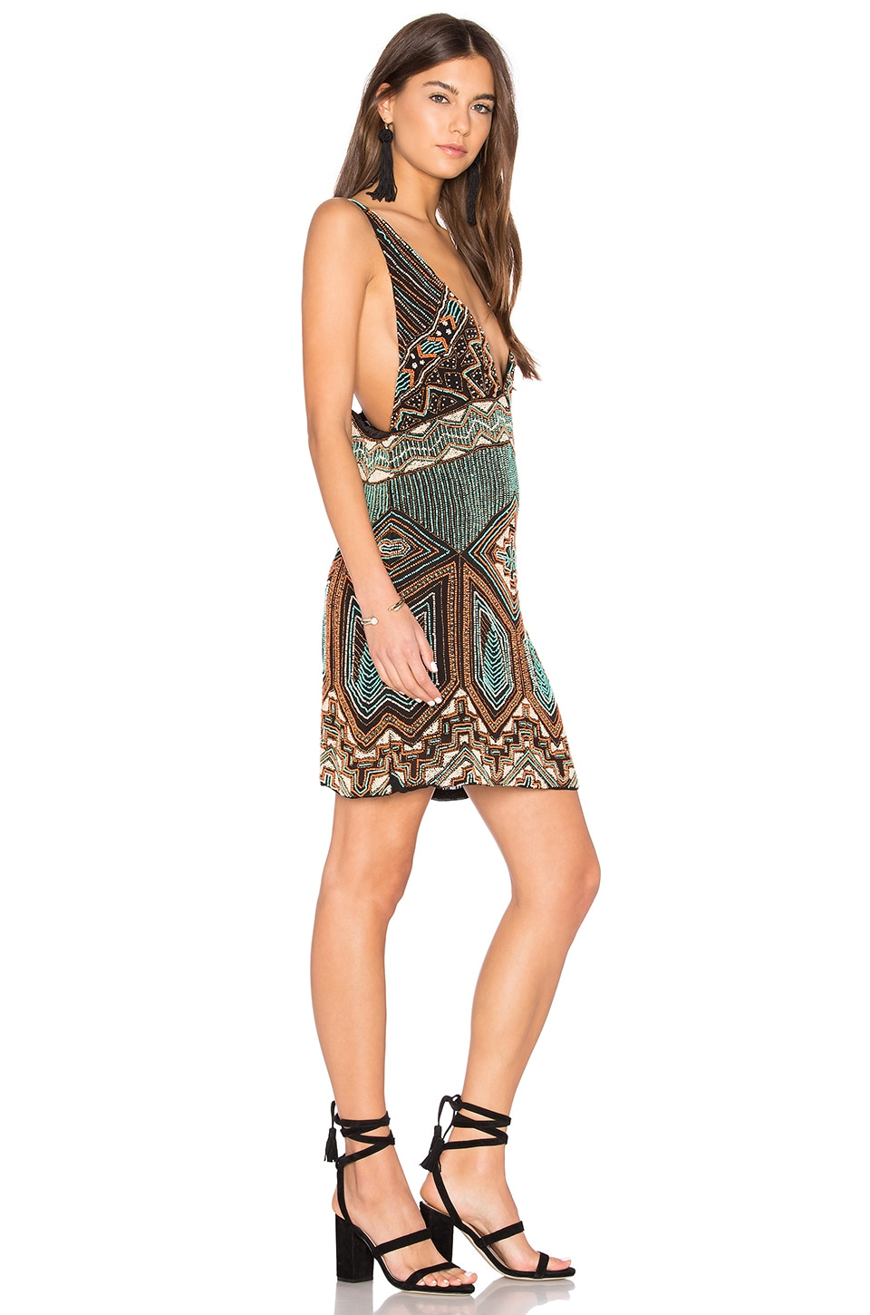 Buy Beaded V Neck Dress by Tessora
