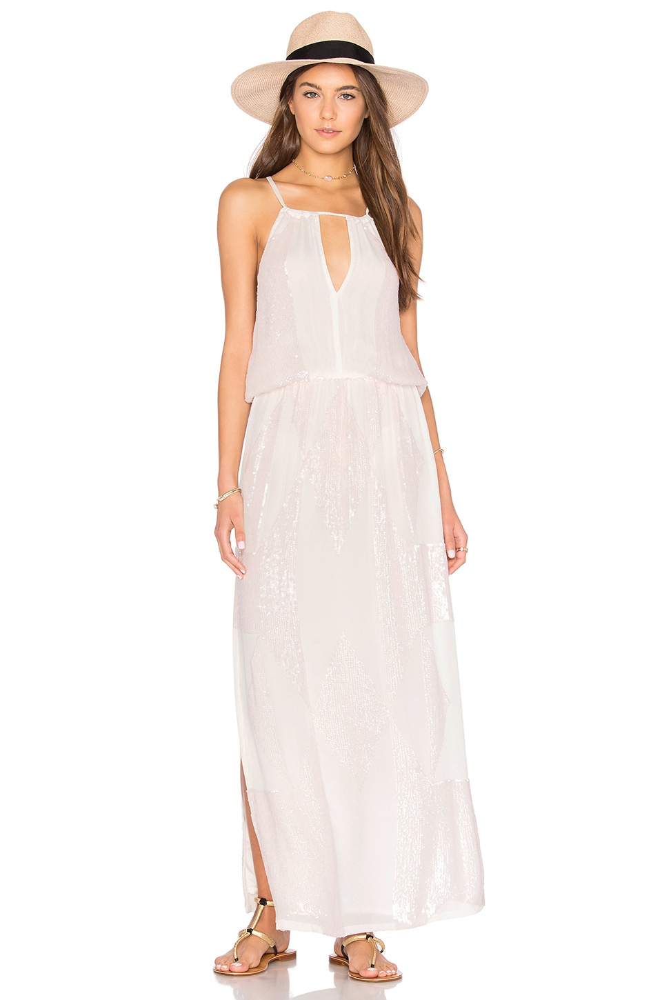 Tessora Keyhole Maxi Dress in Pink