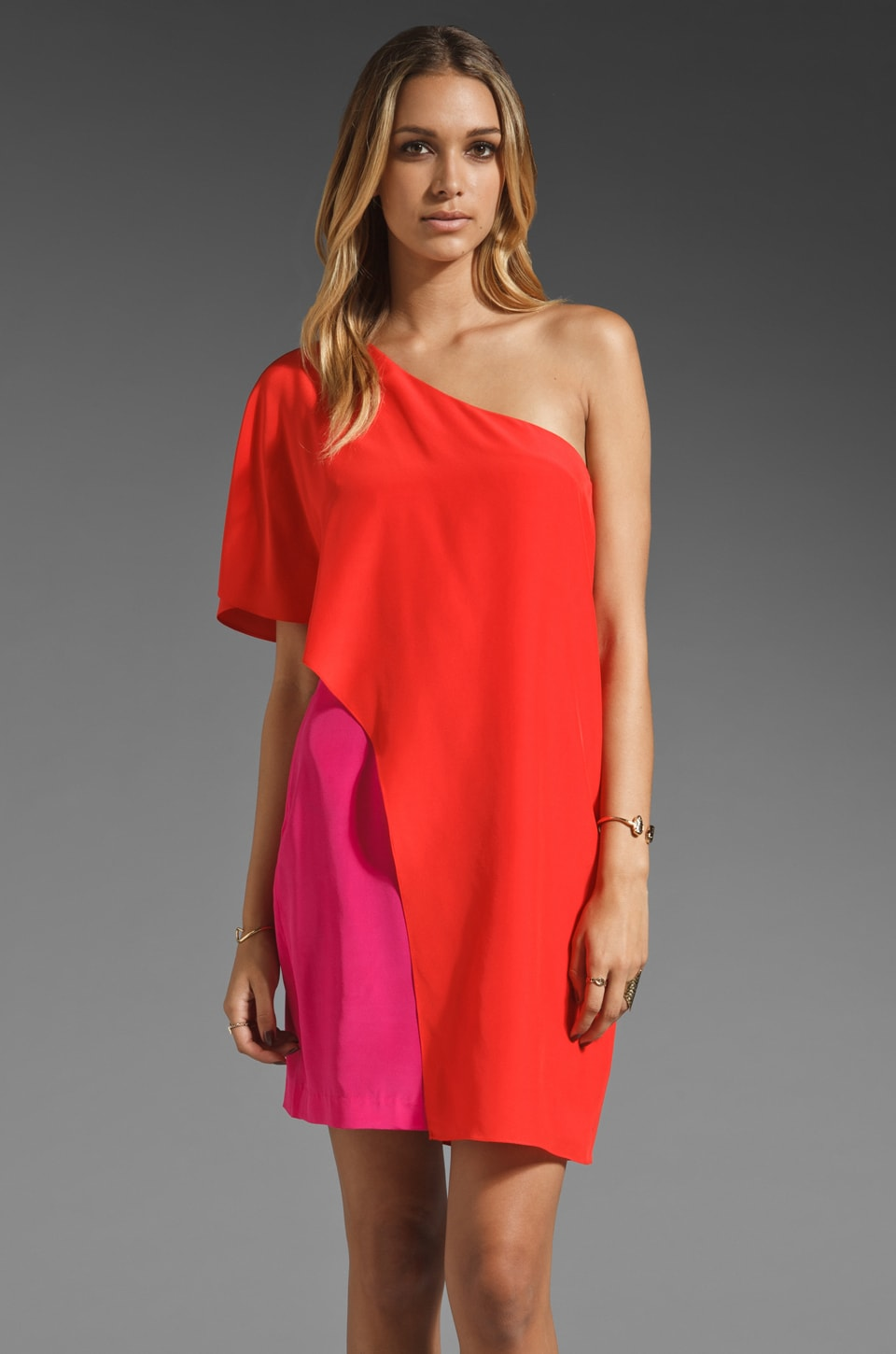 Trina Turk Solid Crepe Heroine One Shoulder Dress in Poppy/Hyper Pink