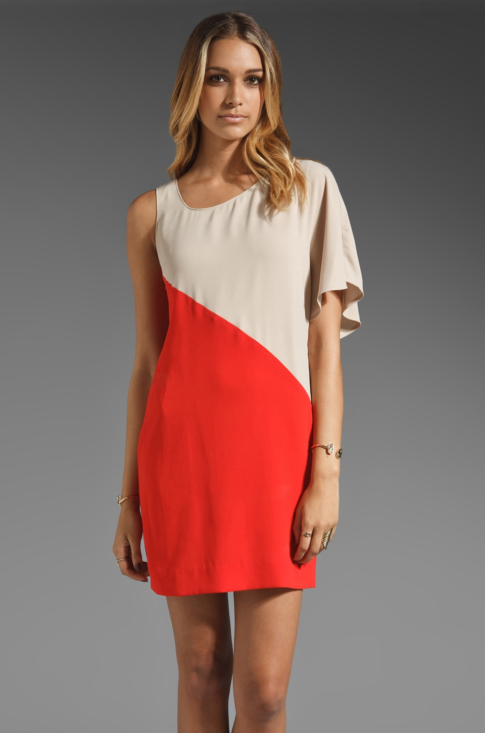 Trina Turk Matte Drape Keaton Dress in Poppy/Alabaster