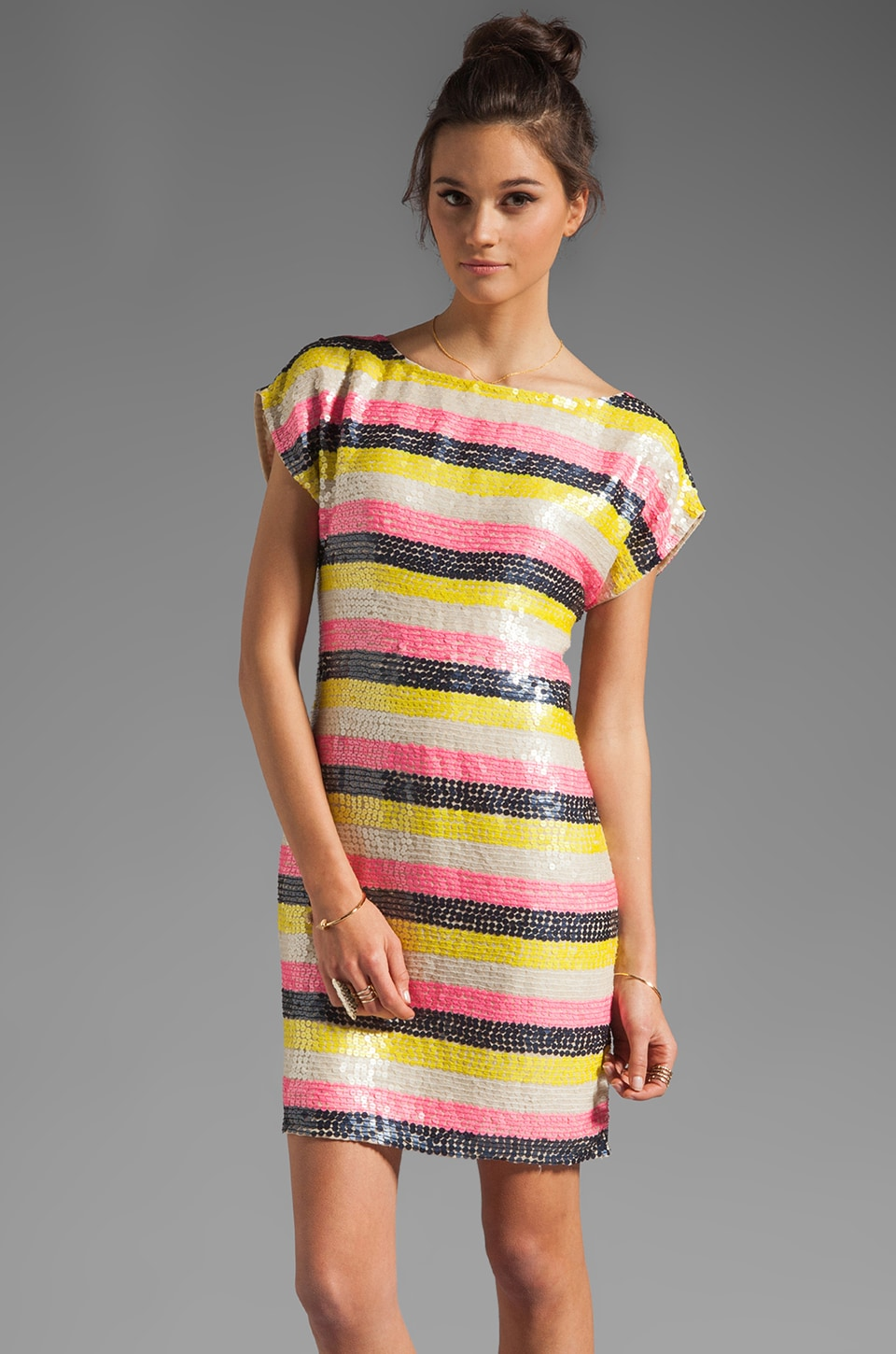 Trina Turk Georgette Breene Short Sleeve Dress in Pebble