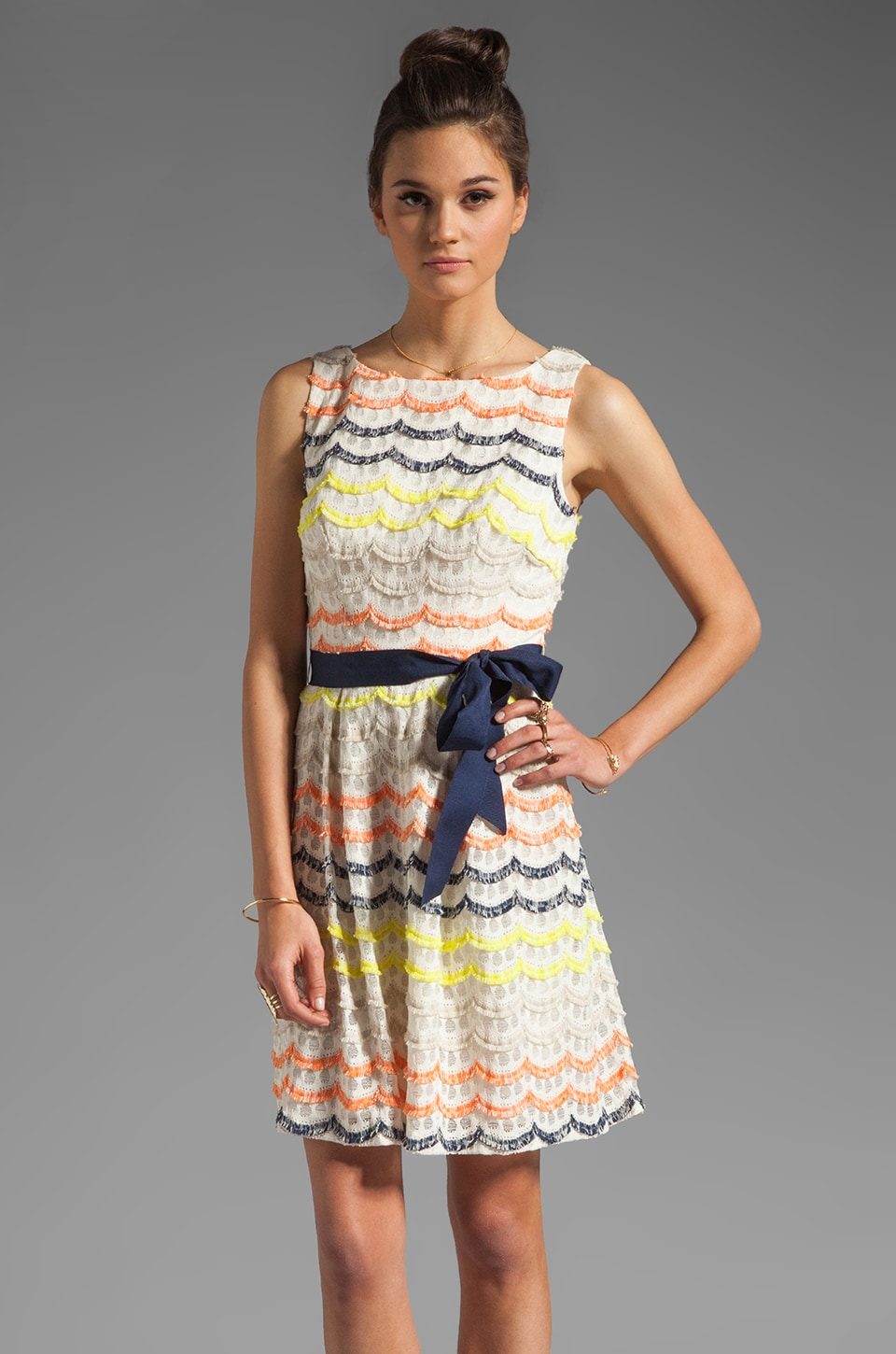 Trina Turk Scallop Fringe Lace Heights Dress in Multi