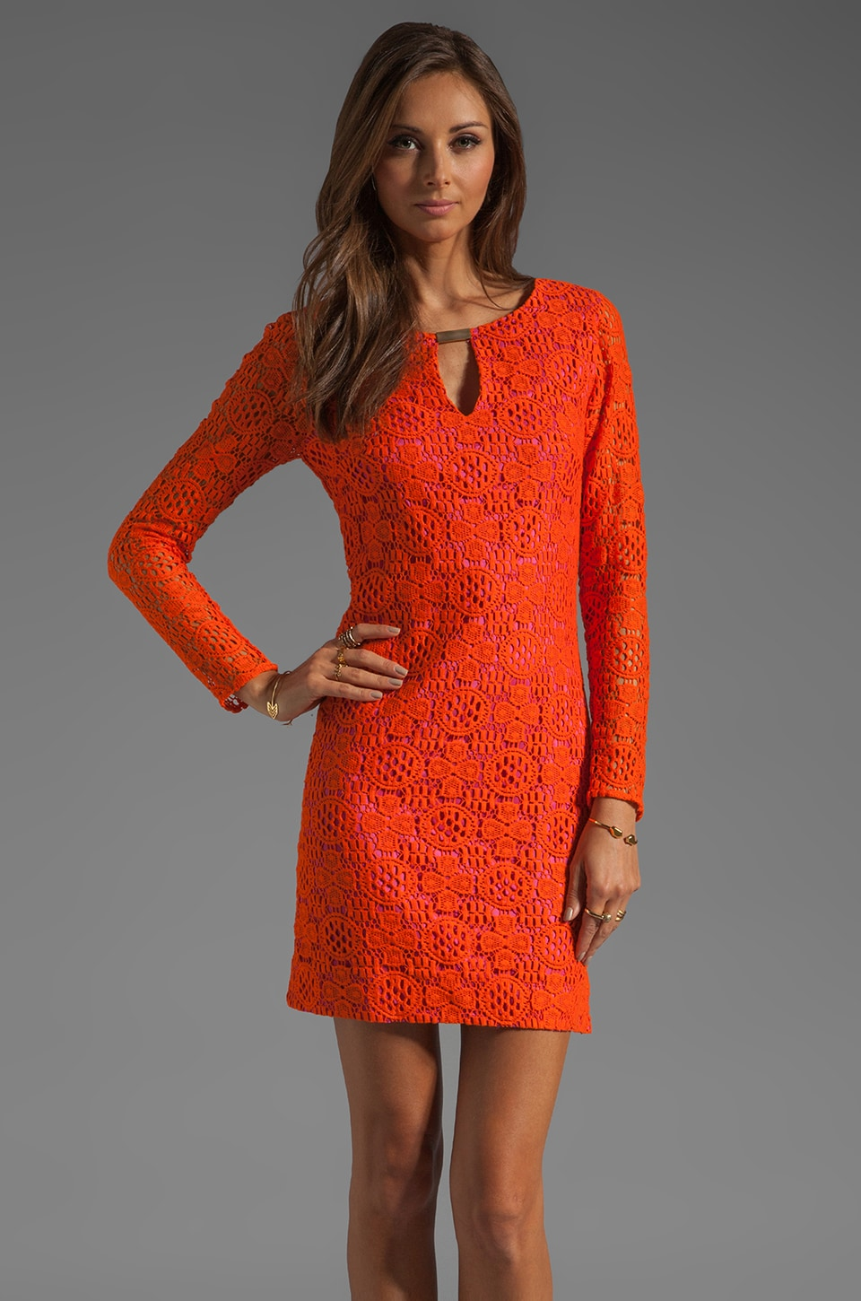 Trina Turk Boardwalk Lace Crandon Dress in Sunset