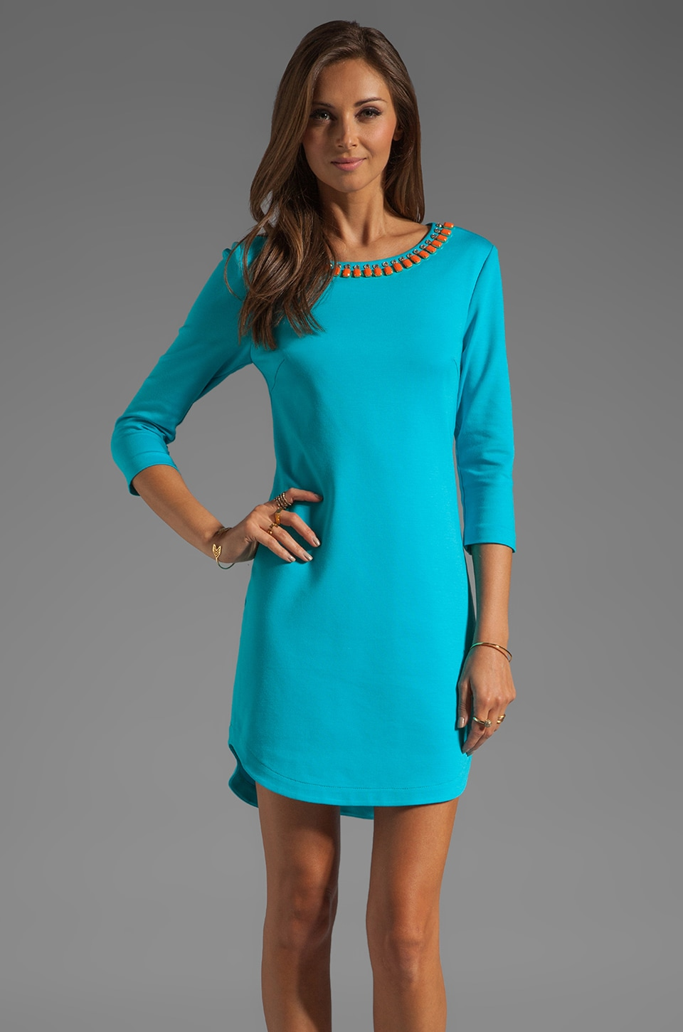 Trina Turk Tropical Ponte Sculptor Dress with Beaded Neckline in Biscayne Blue