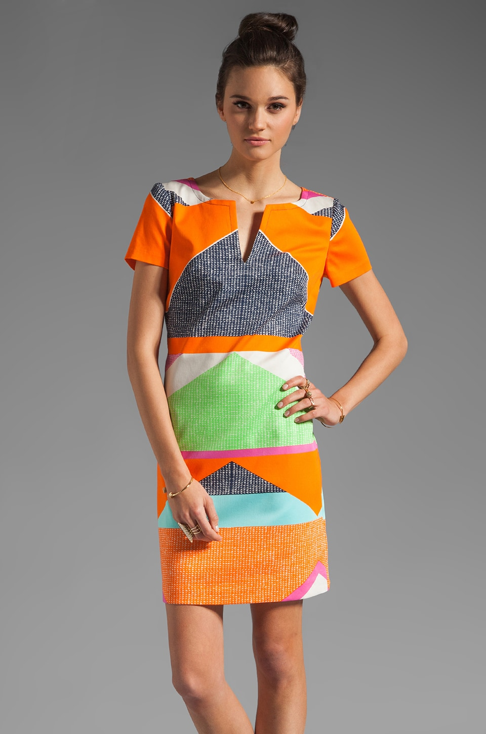 Trina Turk Lincoln Road Museum Short Sleeve Dress in Multi