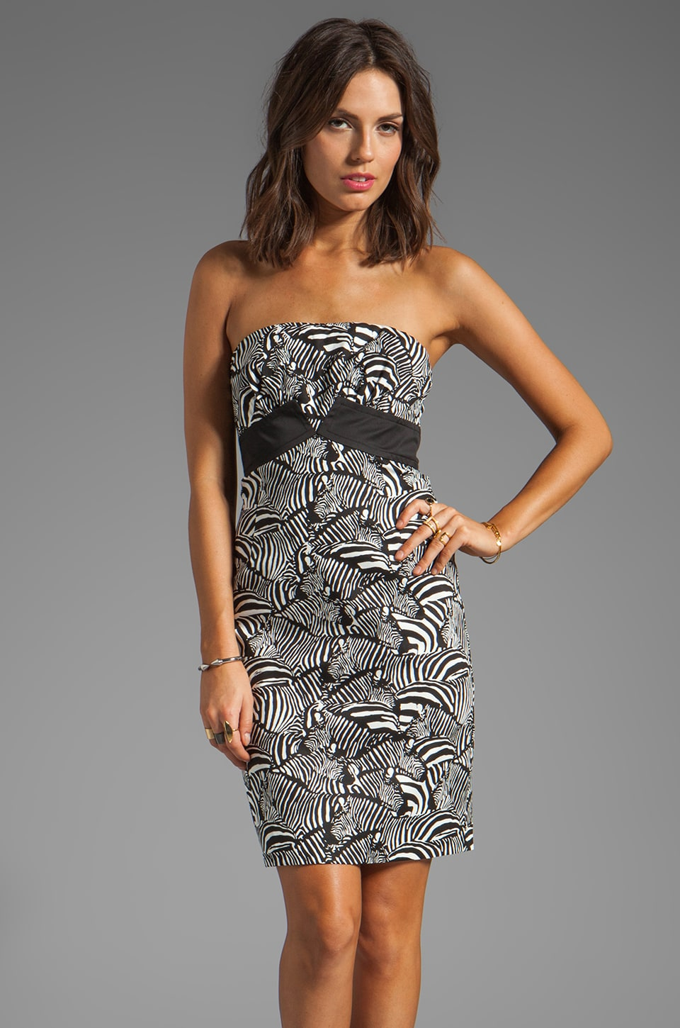 Trina Turk Zebra Stampede Texture Carolyn Dress in Black