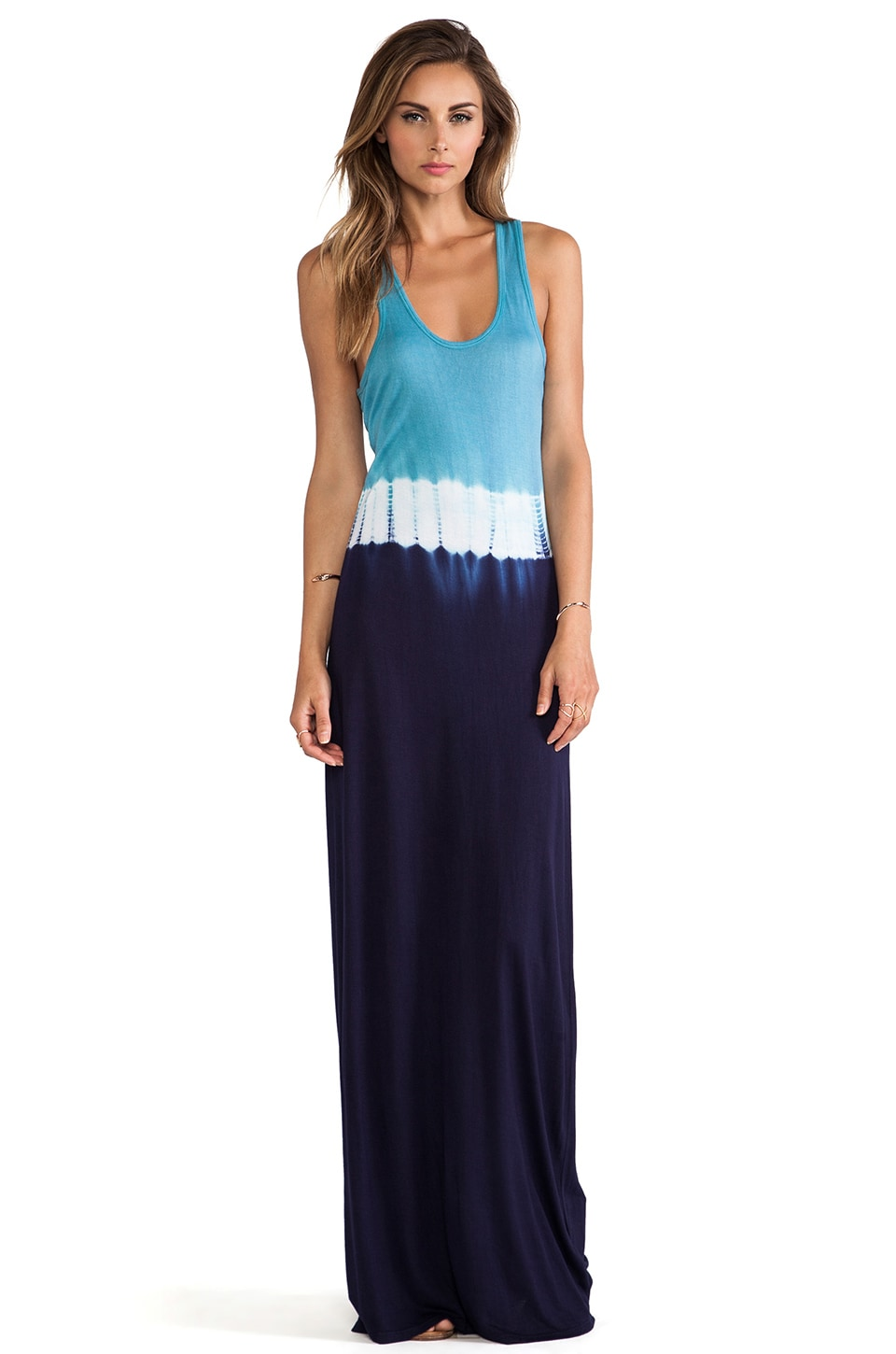 Trina Turk Tie Dye Jersey Carly Maxi Dress in Blue Jewel/Black Plum