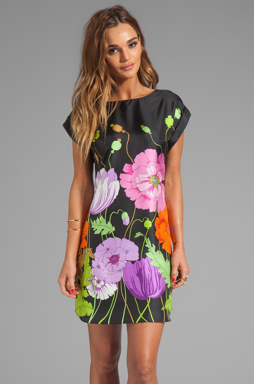 Trina Turk Midge's Garden Silk Twill Nichelle Dress in Black