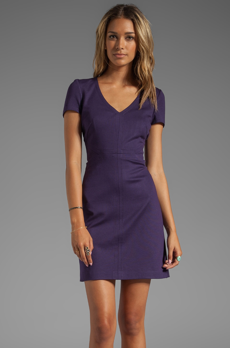 Trina Turk Ponte Knit Calista Dress in Black Plum