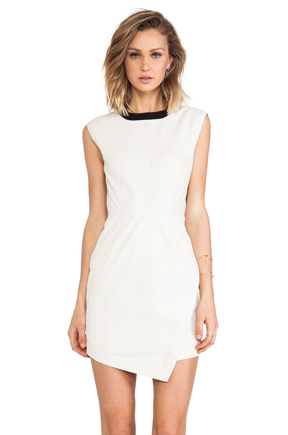 Trina Turk Dalia Leather Dress in Bone