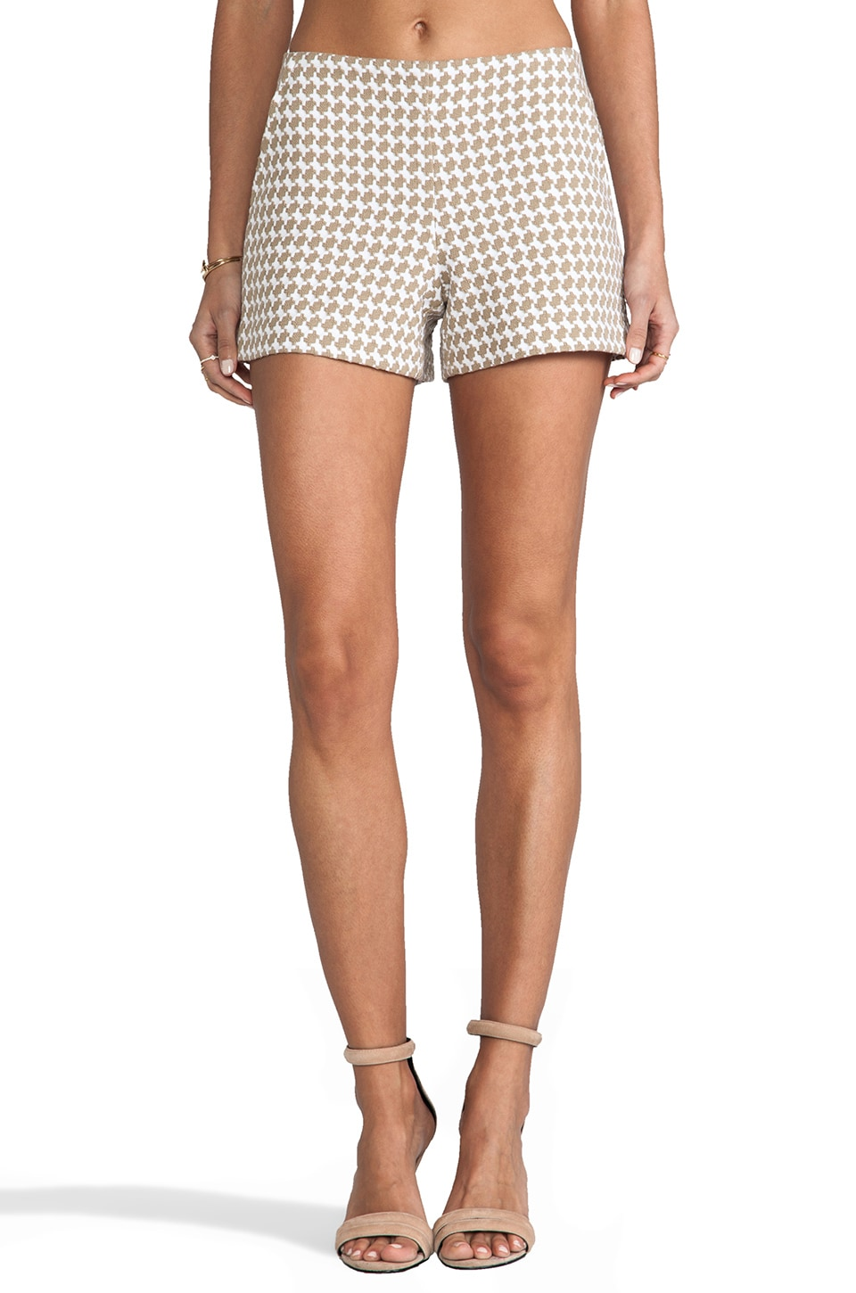 Trina Turk Multi Houndstooth Link Short in Khaki