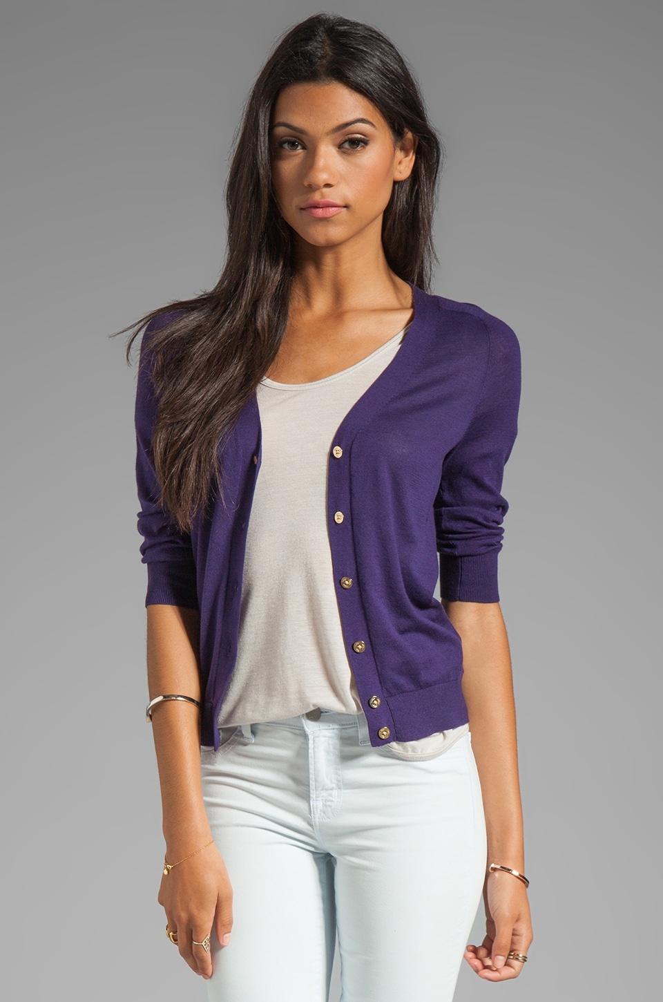Trina Turk Fruition Cardigan in Black Plum