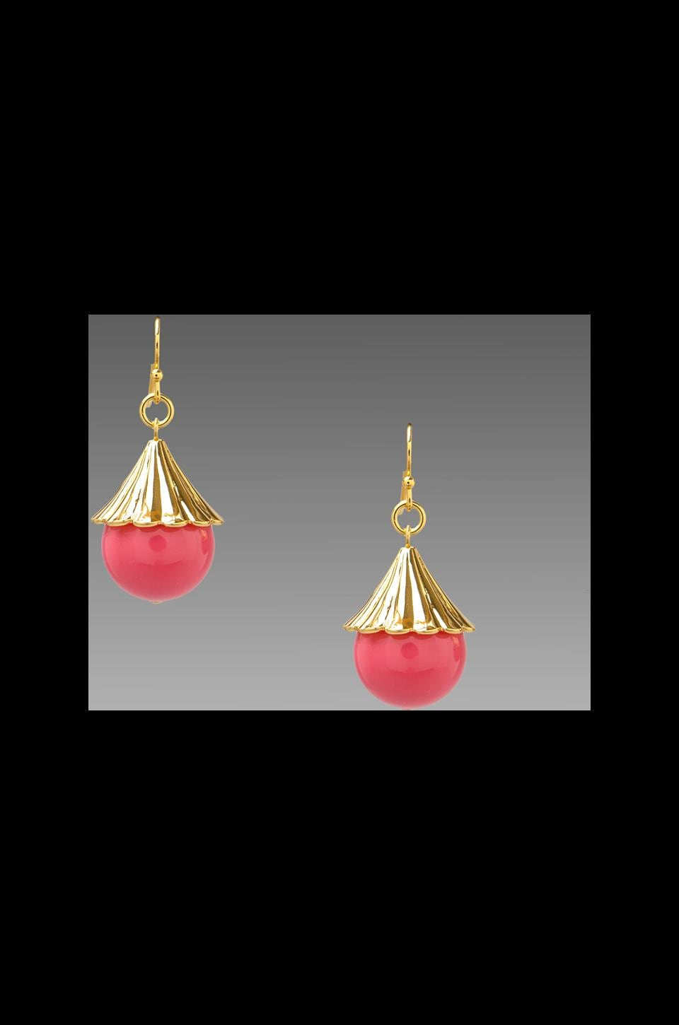Trina Turk Fluted Cap Drop Earring in Pink